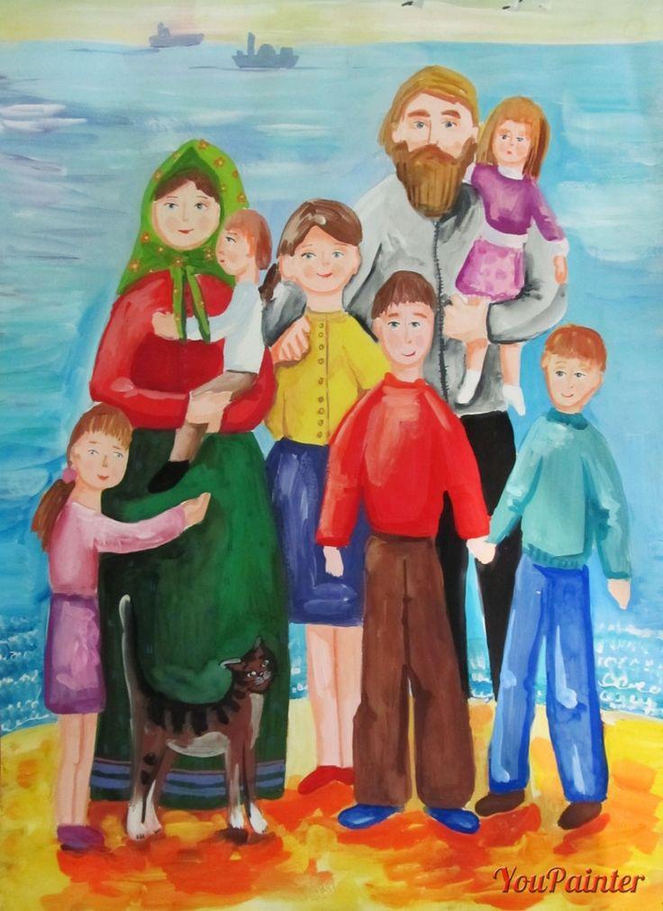 Рисунок своей семьи картинки поход