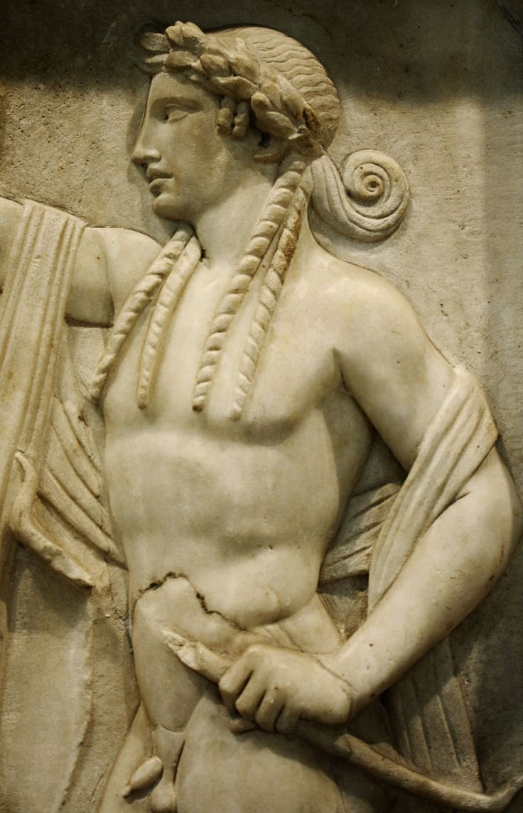 Apollo. detail from a 2nd.century BC. funerary marble relief slab.Archaeological Museum of Piraeus.http://hadrian6.tumblr.com
