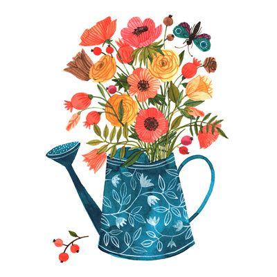 """Garden Flowers by Oana Befort   ART PRINT / MINI (8"""" X 8""""}   $25.00"""