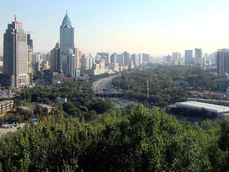 Hongshan Park and People's Park form a greenbelt in the center of modern Urumqi, Xinjiang, China.