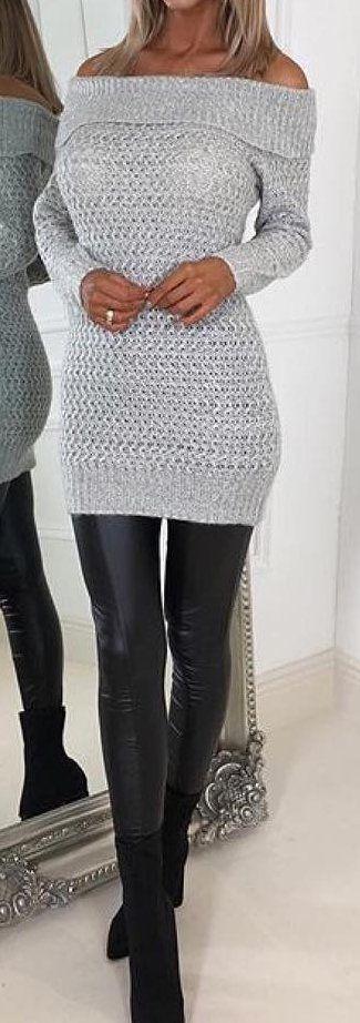 #cute #outfits Aus Schulter Strickkleid // Schwarzes Leder Knie High Dress
