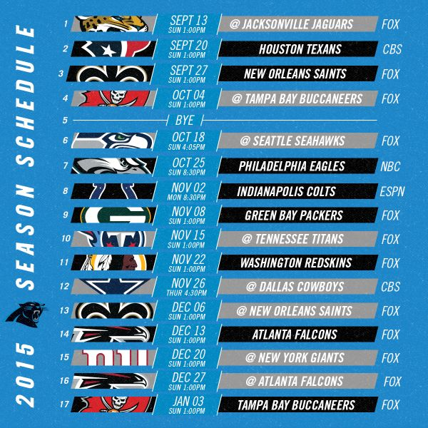 "Carolina Panthers on Twitter: ""The #Panthers 2015 schedule has ..."