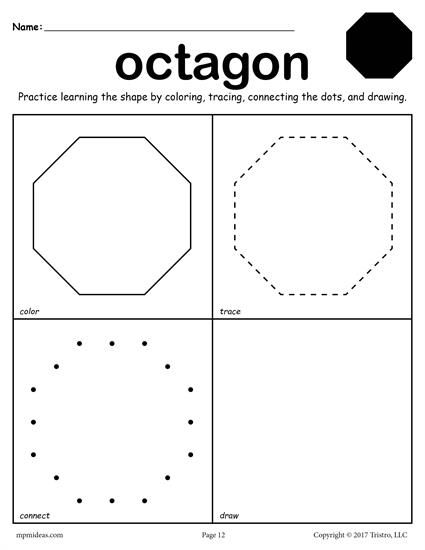 FREE printable octagon worksheet. This octagon coloring page and tracing worksheet is perfect for both toddlers and preschoolers. Includes an octagon plus 11 other shapes worksheets. Get all twelve shape coloring pages and tracing worksheets here --> http://www.mpmschoolsupplies.com/ideas/7557/12-free-shapes-worksheets-color-trace-connect-draw/