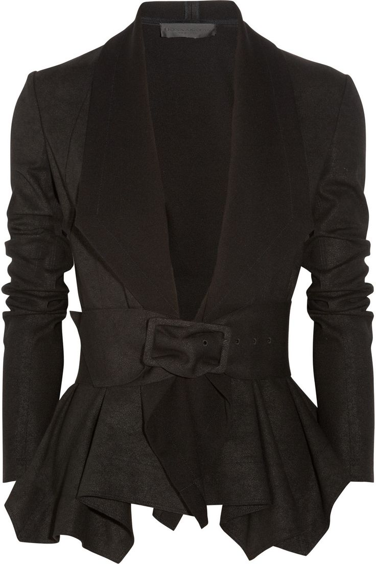 Donna Karan Draped coated-jersey jacket.