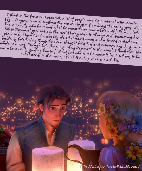 """bstormhands: """" whisper-turnbell: """" I think in the focus on Rapunzel, a lot of people miss the emotional roller coaster Flynn/Eugene is on throughout the movie. He goes from being the cocky guy who knows exactly who he is and what he wants to someone..."""