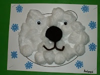 Kindergarten Art Projects- Have the outline of the bear face and let them glue the cotton balls, eyes, nose, and mouth down. Then they can draw the snow around him to show that they only live in the cold. Practices good fine motor skills!