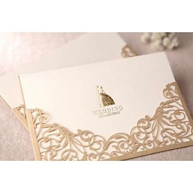 Gorgeous Lace Cut-out Wedding Invitation In Gold (Set of 50) - GBP £ 41.59