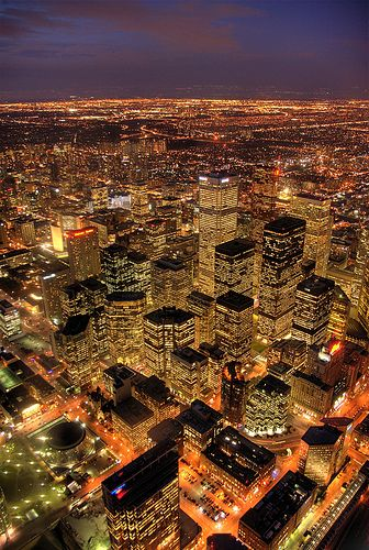 Toronto At Night We may not get a good view of the stars in the heavens but we have our twinkling lights none the less.