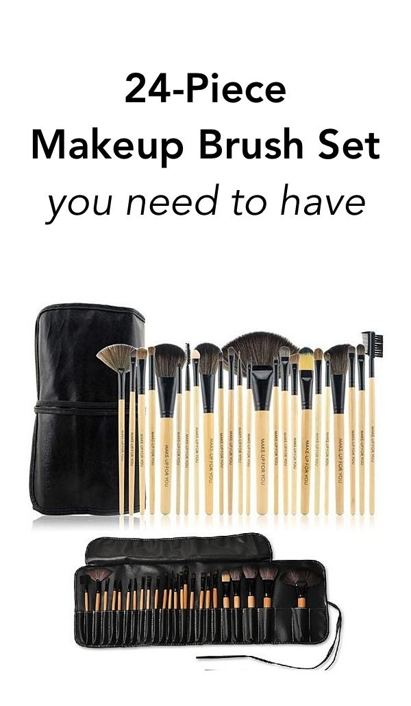 Get your hands on an assortment of 24 high quality hand-sculpted makeup brushes ranging from angled eye-shadow brushes to poofy powder brushes.