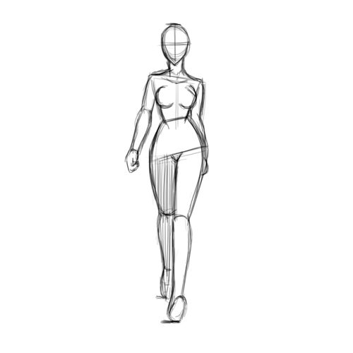 Walk cycle of a woman of front Key Poses and Breakdowns.
