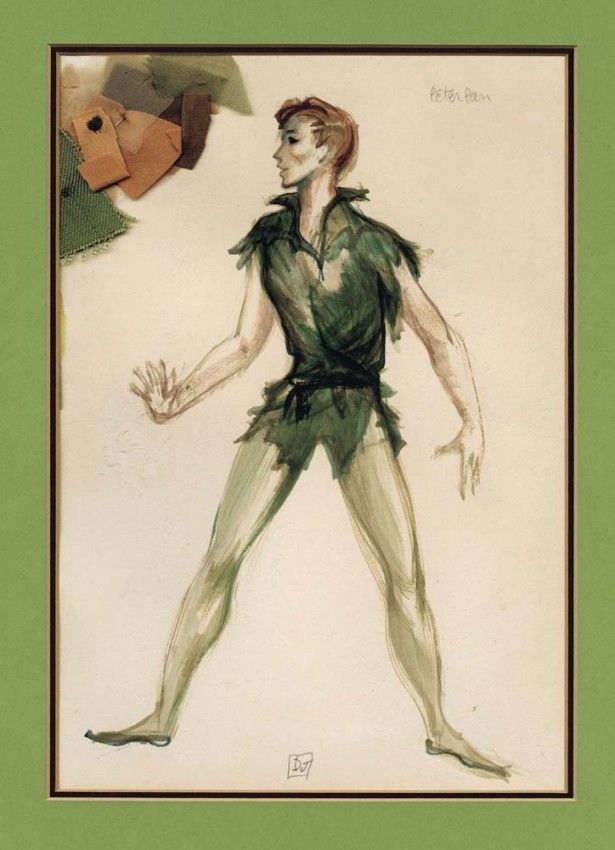 original signed Dorothy Jeakins costume design sketch for Mary Martin in Peter Pan (NBC-TV, 1960) -- graphite & gouache