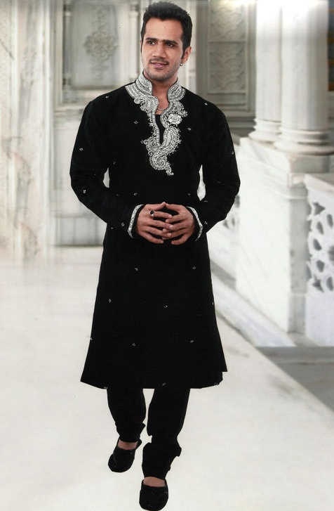 Black Dupion Silk Readymade #Kurta with Churidar @ $92.32 | Shop @ http://www.utsavfashion.com/store/item.aspx?icode=mkc169