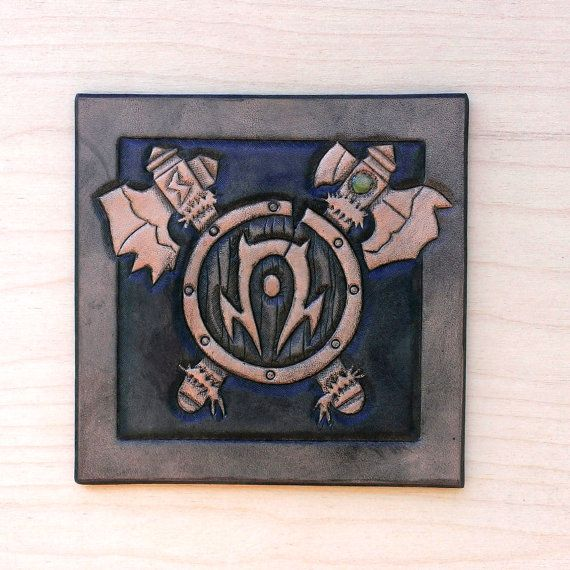 Leather coaster Crest of the Orcs by TimnKirasArt on Etsy