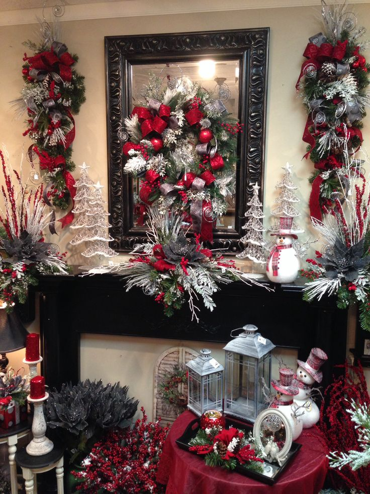 Mantel decor at Something Special. Christmas decorating and floral arrangement ideas.