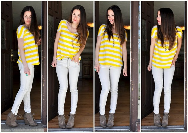 White jeans with yellow stripe top and suede ankle boots: Clothing Refashion, Diy White, Gray Jeans, White Pants, Diy Clothing, Bleaching Jeans, Bleach Jeans, White Jeans, Old Jeans