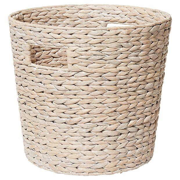 Hyacinth Medium Round Basket - White Wash