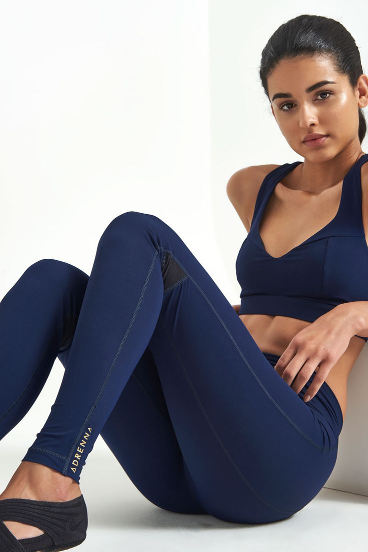 Adrenna's Core Leggings in navy are a stylish must-have addition to your sportswear collection. Sweat-wicking, compressing and sustainable to boot. Customise in two different lengths and pocket options for £149.