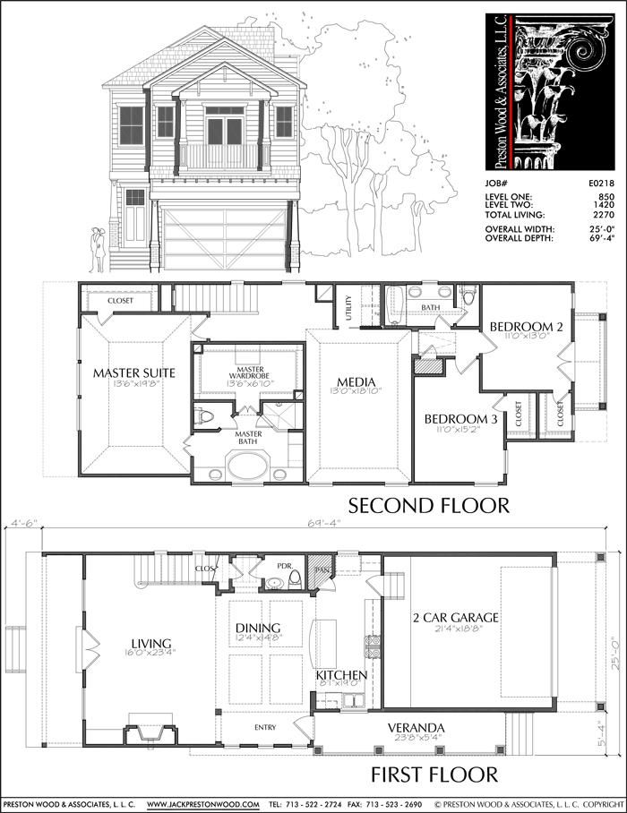 Two Story Townhouse Plan E0218 Condo Floor Plans New House