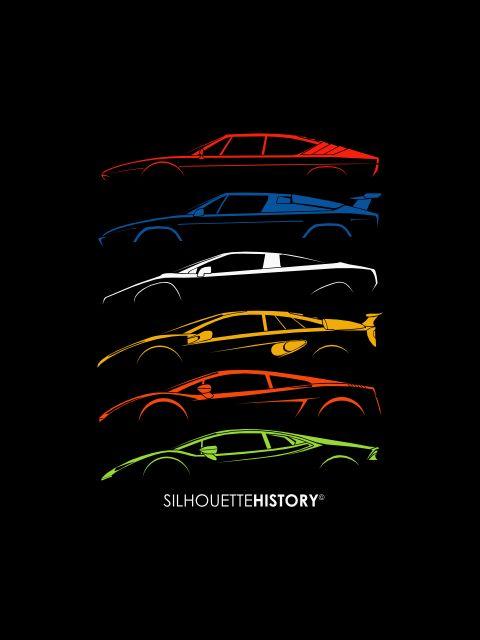 "silhouettehistory: "" Little Bulls SilhouetteHistory Silhouettes of the Lamborghini mid-engined V8/V10 cars: Uracco, Jalpa, P140 (concept), Cala (concept), Gallardo, Huracán "" Throwback Thursday Home   FB   Instagram   Twitter   Shop   Ask"