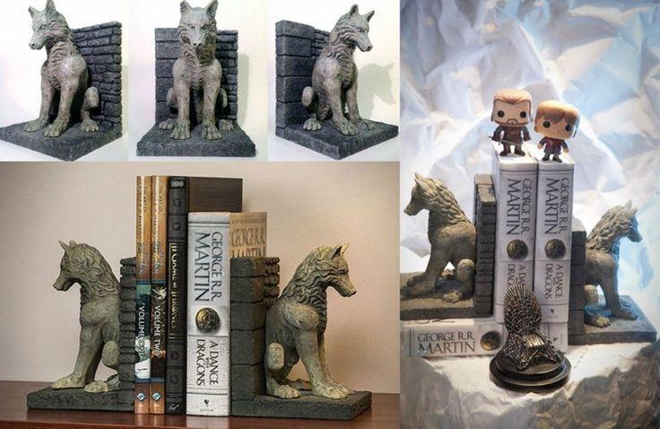 stabile Schattenwolf Buchstützen für Game of Thrones Fans