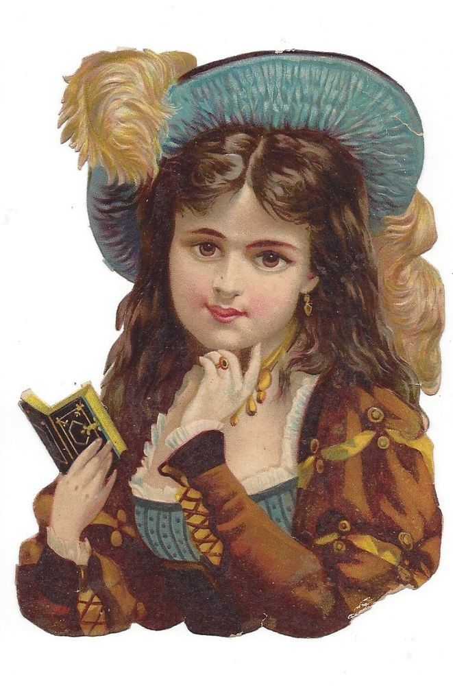 Victorian Die Cut Scrap Brown Eyed Girl Reading her Diary
