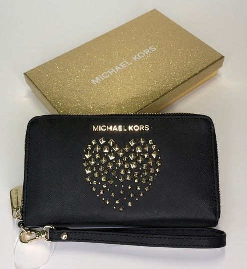 c34936623f8cb5 Michael Kors Jet Set Item Lg Multifunction Phone Wallet Black Studded Heart  Leather Wristlet. Get the trendiest Clutch of the season!