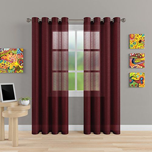 """Grommet Semi Sheer Luxury 2 Panels Total Wide 108"""" (Each Curtain 54""""Wx84""""L) Window Home Decor and Upscale Design Light Penetrating & Privacy Soft Durable Polyester Easy Upkeep (Merlot) #Grommet #Semi #Sheer #Luxury #Panels #Total #Wide #(Each #Curtain #""""Wx""""L) #Window #Home #Decor #Upscale #Design #Light #Penetrating #Privacy #Soft #Durable #Polyester #Easy #Upkeep #(Merlot)"""