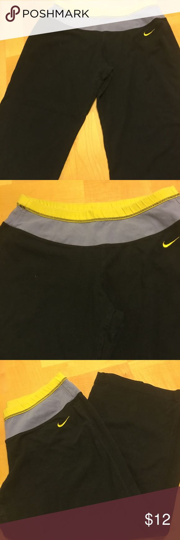 Nike Capri style work out pants Gently worn but very cute. Very comfortable 93 percent cotton 7 percent spandex.  Medium 8/10. Nike Pants Capris