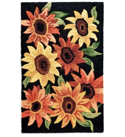 Amazon Com Hand Hooked Washable Accent Rug With Sunflower