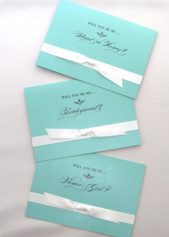 """Will you be my..."" cards in Tiffany Blue ~ on Etsy"
