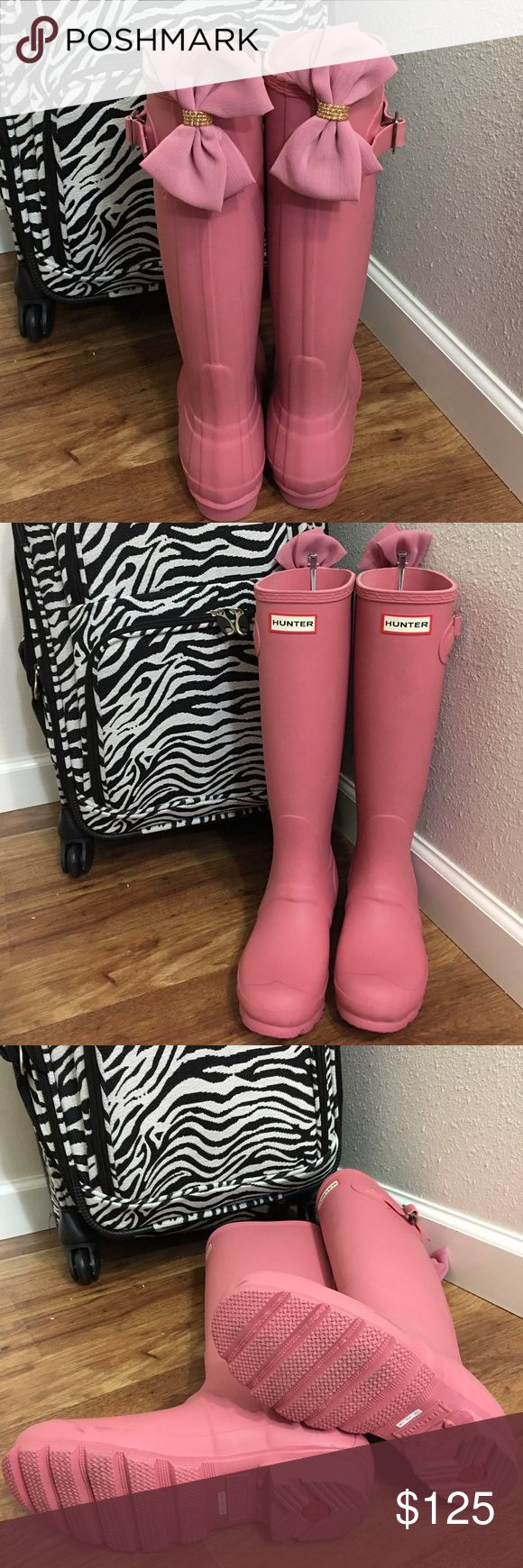 Rare Rhondite Pink Hunter boots & Bow Clips Gorgeous pair of matte finish rhondite pink ladies tall Wellie Hunter rain boots  in size 6. Worn once for pictures and then put away. This is the prettiest blush pink to go with soft neutral tones. Perfect rose shabby chic pink for more classy ladies. This romantic pink is no longer available in stores. These include Hard to find matching pink bow clips as FREE GIFT WITH PURCHASE!! Always open to offers sent thru offer link. Hunter Shoes Winter…