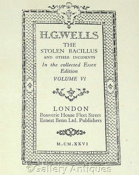 Vintage H G Wells - The Stolen Bacillus - Collected Essex Edition -- Volume VI - Hardback sci fi Book Published in 1926  by GalleryAntiques on Etsy