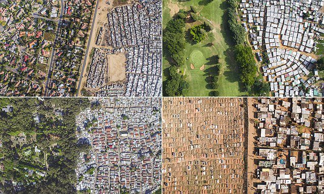 The extreme divide of rich and poor in South Africa captured by drones #DailyMail