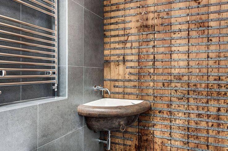 Bathroom. Simple Rustic Style Bathroom Design. Vintage Rustic Minimalist Bathroom Design Idea Featuring Brown Wooden Rustic Bathroom Wall Partitions And Brown Semicircle Floating Bathroom Vanity Sink Cabinet Plus Gray Ceramic Bathroom Wall. Rustic Minimalist Bathroom