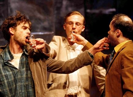 Production photo of Jack, Laskey, Tom Canton and Simon Scardifield.  Credit Simon Annand.