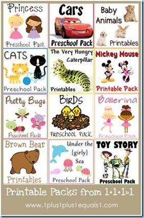 Tot, Preschool, Kindergarten printable Packs from 1+1+1=1