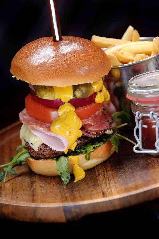 A burger at The Blue Pig