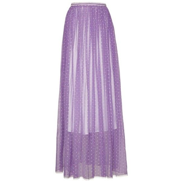 Women's Burberry Flocked Tulle Maxi Skirt (1.779.665 CLP) ❤ liked on Polyvore featuring skirts, draped skirt, purple tulle skirt, long skirts, purple maxi skirt and polka dot skirts