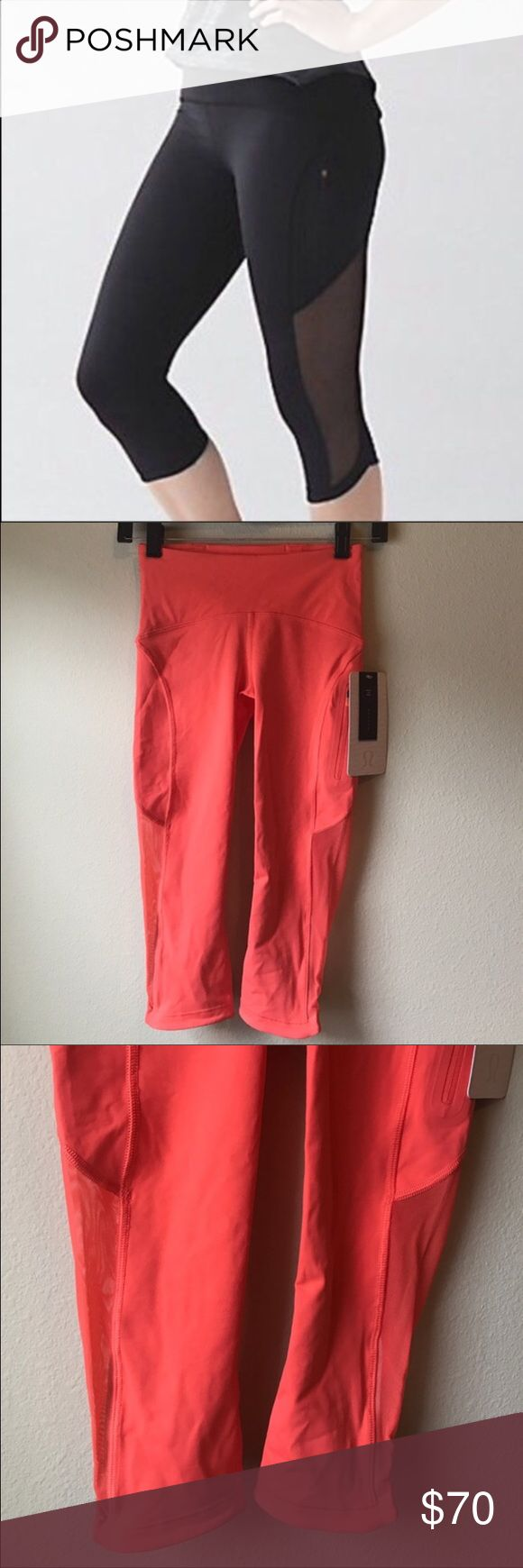 NWT LULULEMON SUN RUNNER CROP -- Size 4 Brand: Lululemon Athletic Sun Runner Crop Mesh | Cape orange > Black photo is stock photo only  Condition: New with tag | Size 4 ||    🚩NO TRADES  🚩NO LOWBALL OFFERS  🚩NO RUDE COMMENTS  🚩NO MODELING  ☀️Please don't discuss prices in the comment box. Make a reasonable offer and I'll either counter, accept or decline.   I will try to respond to all inquiries in a timely manner. Please check out the rest of my closet, I have various brands. lululemon…