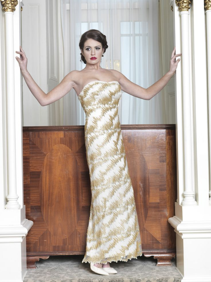 Fitted gold embellished dress. Taken from 2015 wedding collection by Ginan Abbas. www.goldenstitch.ie