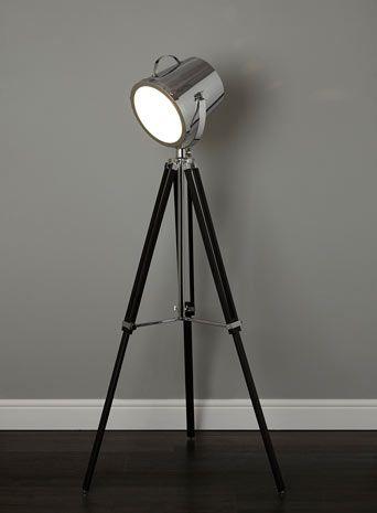 BHS // Illuminate // Cody Camera Floor Lamp // black wooden tripod floor lamp with chrome camera style lamp