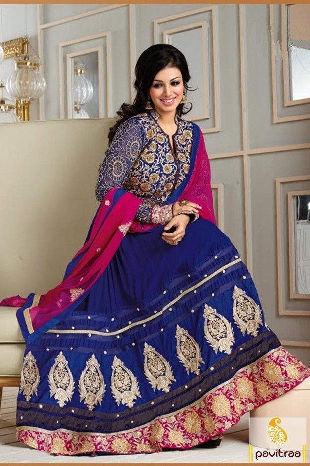 style with this blue and pink long #embroidery #Anarkali #Salwar suit is designed with heavy embroidery work on front, back and border part with full sleeves.