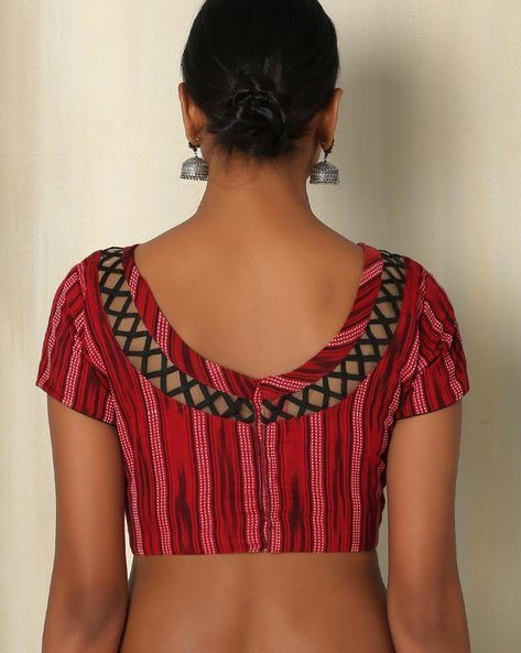 Buy Red The Blouse Factory Cotton Ikat Blouse | AJIO