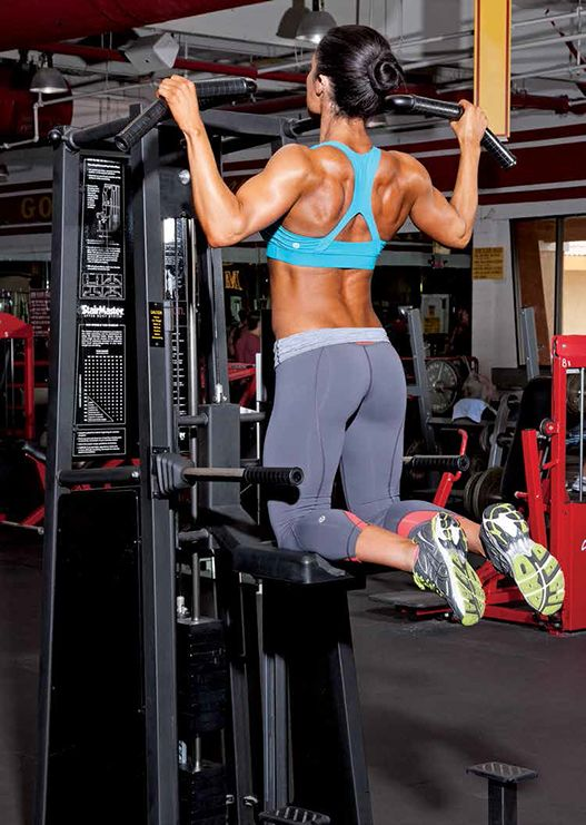 Assisted pull up machines. One day I'll be able to do them on my own! Oxygen Magazine photo.