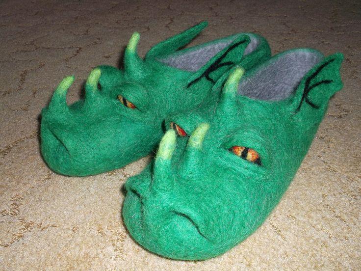 Мужские валяные тапочки Драконы