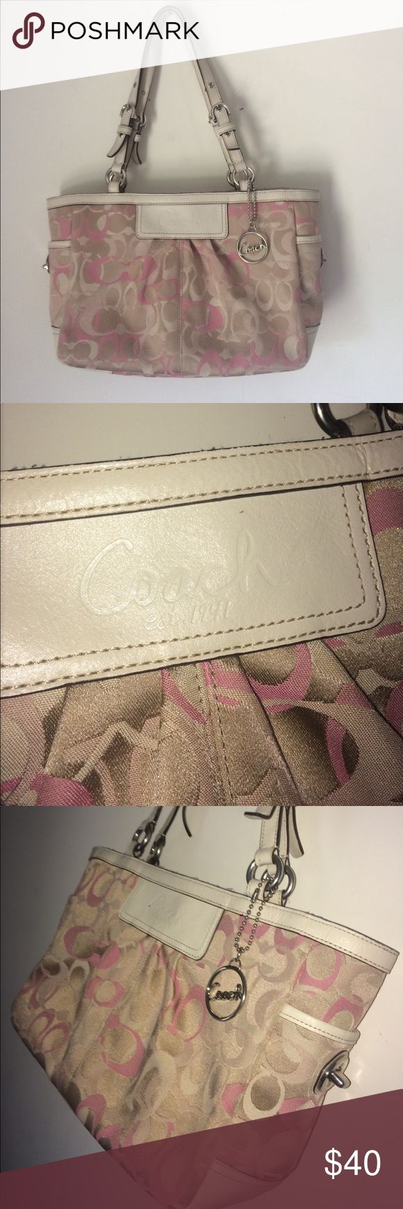 COACH Purse- Pink and Champagne This bag is super cute and in perfect condition on the outside. There are a few light pen marks on the inside but aren't noticeable! Price negotiable!💕😊 Coach Bags Shoulder Bags
