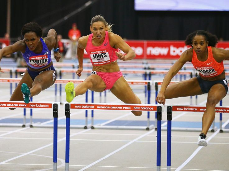 Tiffany Porter of Great Britain, left, and Americans Lolo Jones, center, and Janay Deloach compete in the Women's 60m Hurdles during the New Balance Indoor Grand Prix at Reggie Lewis Center in Boston, Massachusetts. Maddie Meyer, Getty Images