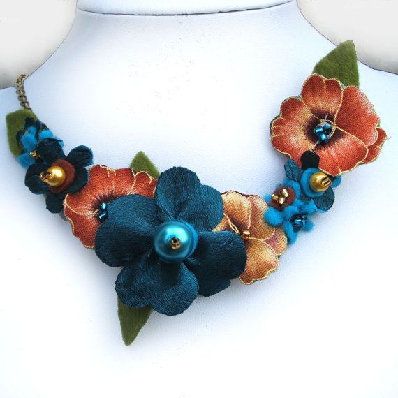 Pansy Necklace Warm Gold and Teal Fabric Flower by CraftyJoDesigns