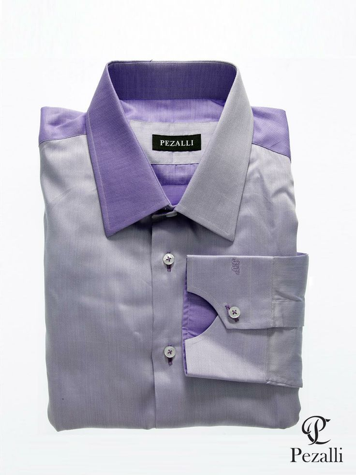 100% Egyptian Cotton shirt using 2 sides of lilac fabric. Designer collar and unique cuff with contrast back yoke.