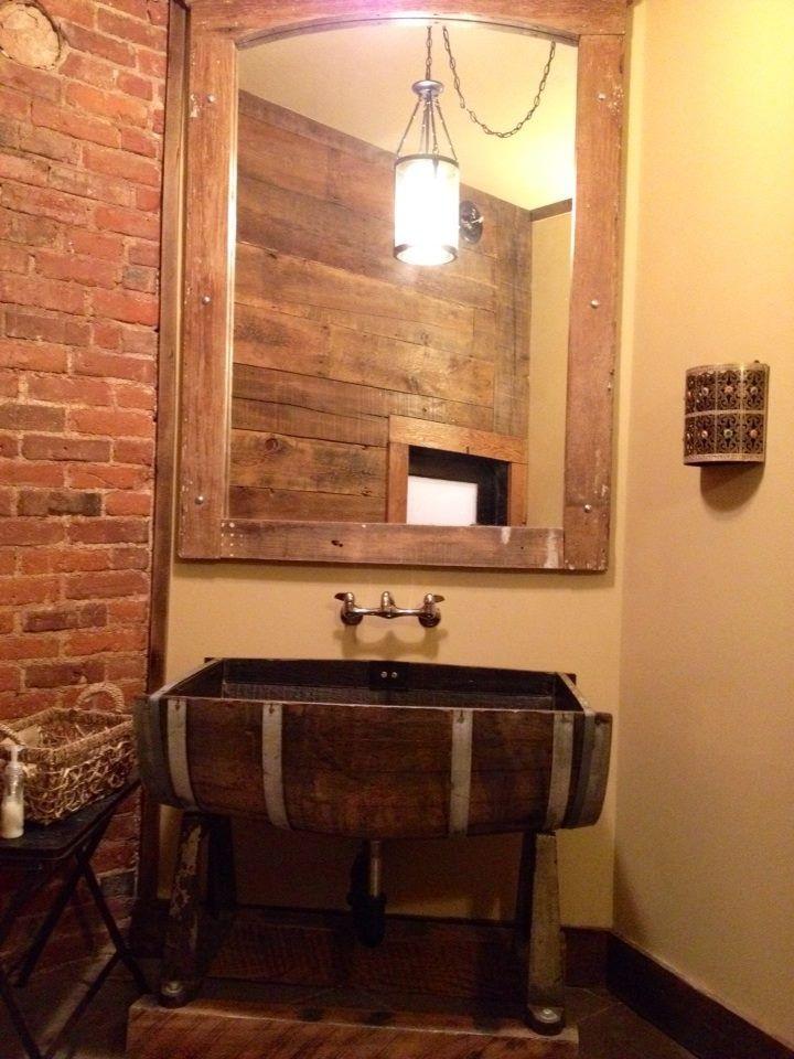 Wine barrel sink | Repurposed | Pinterest | Wine barrels ...